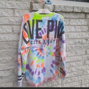 Custom made tye dye Vs pink crew